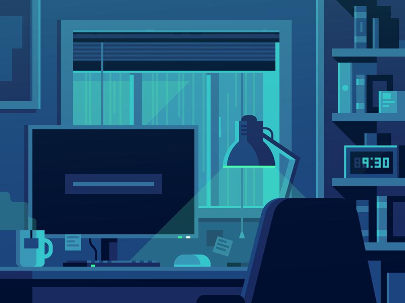 Rainy Night night rainy rain bedroom office computer desk illustration