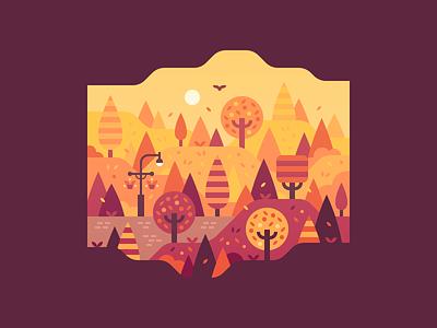 Fall Park fall autumn park forest landscape illustration