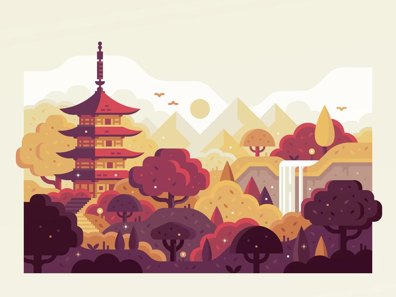 Japan waterfall sunrise trees forest pagoda temple japan landscape illustration