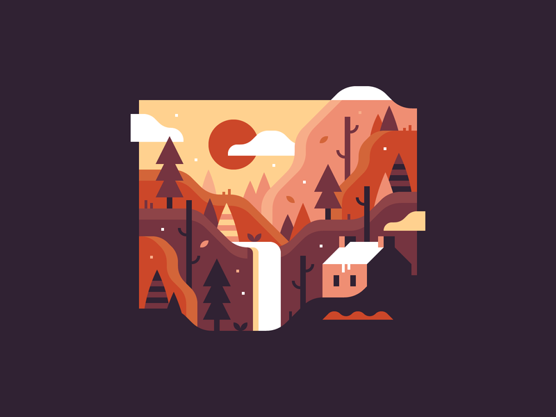 First Snow cliffs waterfall sunset sunrise house woods mountains forest