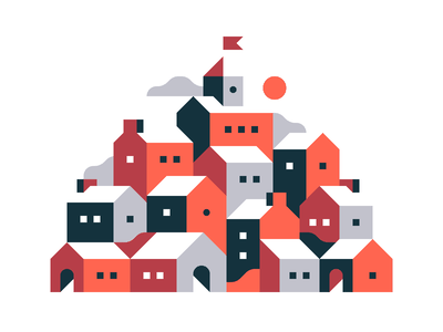 Red Town landscape town city print