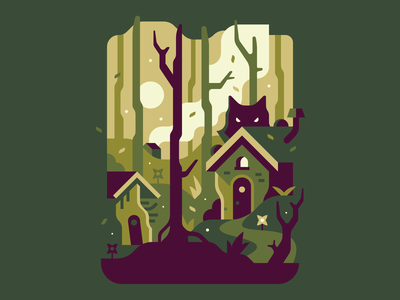 The Three Little Pigs fire house spooky woods landscape three little pigs wolf creepy forest