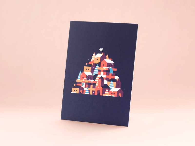 2018 Holiday Card card holiday card 2018 holiday christmas city town landscape illustration