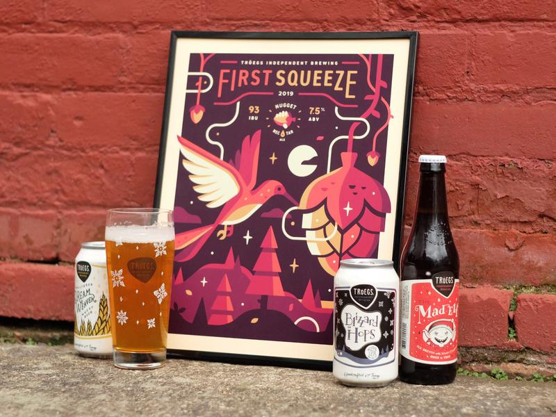 Tröegs: First Squeeze landscape craft beer ale vine hop tree forest poster hummingbird bird beer