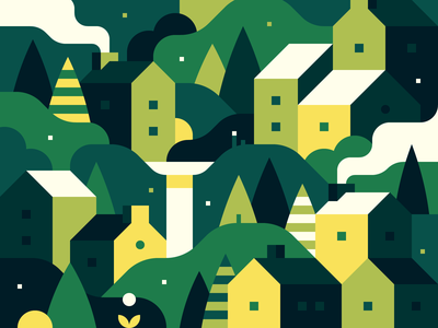 Random Town Crop print house illustration abstract forest city town landscape
