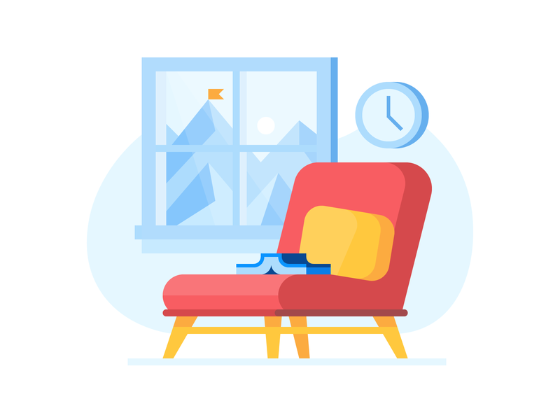 Credit Karma: Sit tight waiting reading book chair landscape credit card ui credit finance illustration