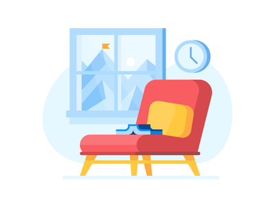 Credit Karma: Sit tight waiting reading book chair landscape credit card ui credit finance illustration