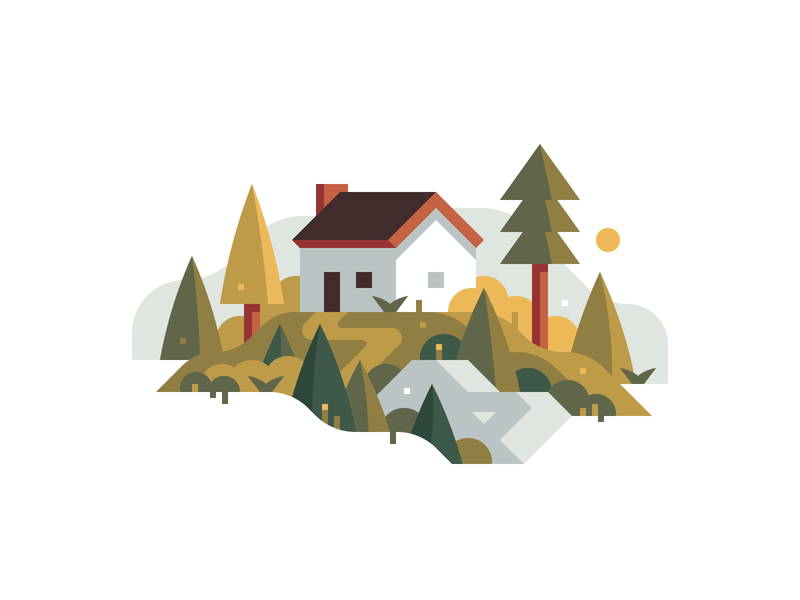 Mountain House summer pine mountain woods cabin house forest landscape