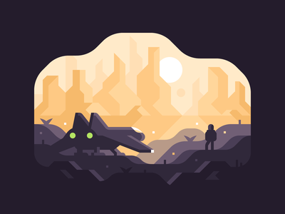 Wanderer alien astronaut sunset canyon mountains landscape spaceship space planet