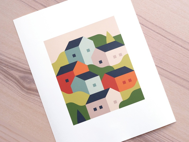 "Spring (11""x14"" Print) village spring summer print abstract city town landscape illustration"