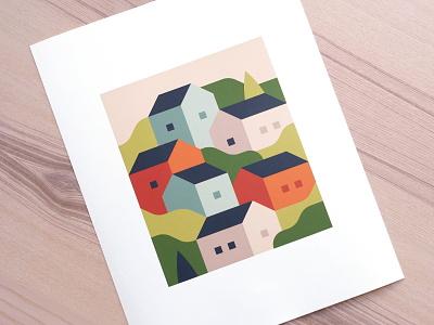 "Spring (11""x14"" Print) village spring summer print abstract city town landscape illustration"