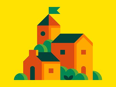 Little Town townscape village abstract city landscape town illustration