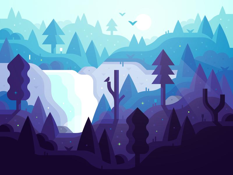 Magic Forest (v3) sunrise cliff waterfall woods magic forest illustration landscape