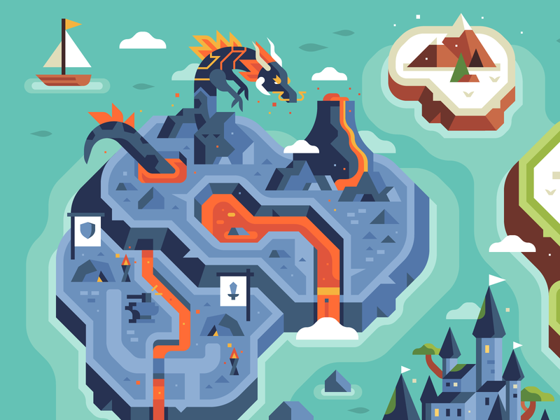 Two Dots - Level Uplands - Volcanic Zone rocks blacksmith castle island lavalamp volcano dragon landscape mobile game treasure hunters treasure hunt map overworld game overworld rpg video game dots two dots