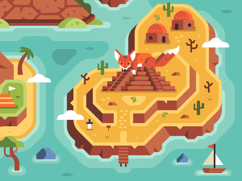 Two Dots - Level Uplands - Desert Zone temple village cliff island sailboat desert fox fox desert landscape video game puzzle map treasure hunters treasure hunt two dots