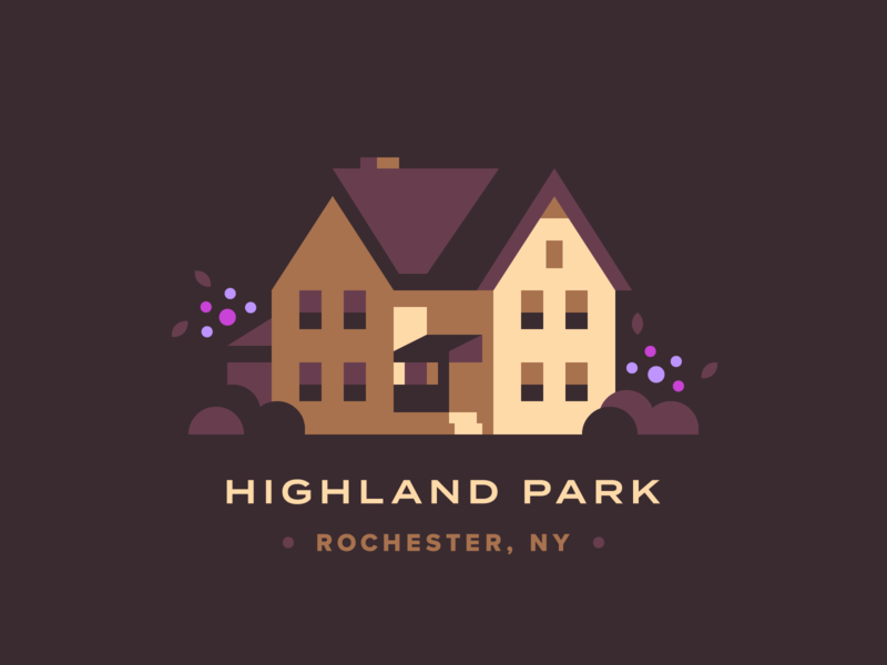 Highland Park home ny new yorker roc rochester highland park lilac house town city illustration