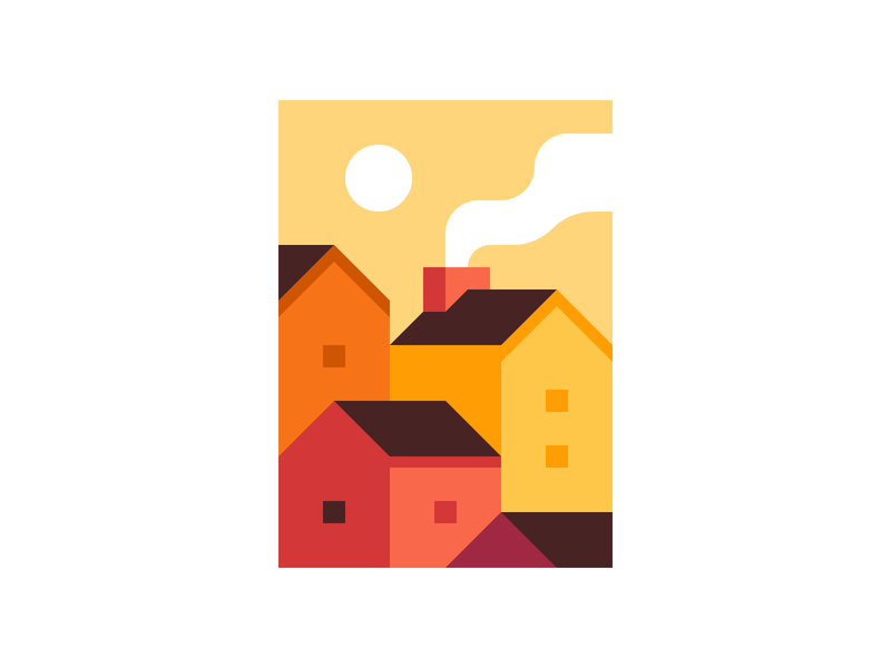 Rooftops autumn fall sunset house print abstract city town landscape