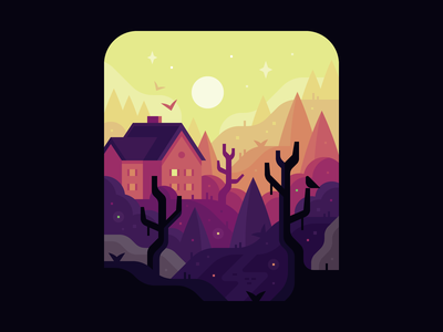 October (#2) night scary spooky woods trick-or-treat october halloween house forest landscape illustration