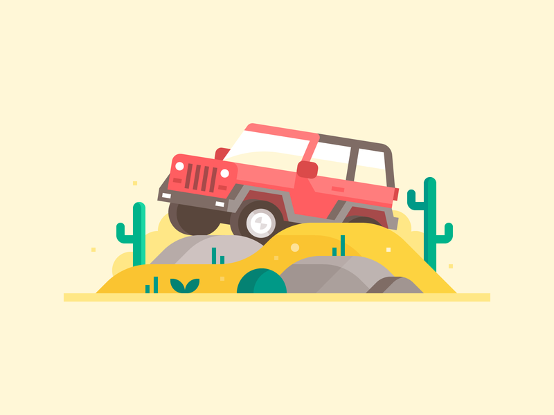 Credit Karma: Off-roadin' insurance truck car rocks desert cactus off-roading jeep landscape