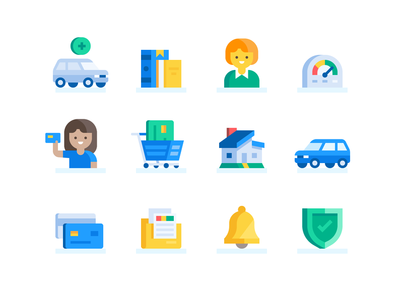 Credit Karma: Goals Icons (#1) credit credit card loans mortgage iconography finance icons icon set icon