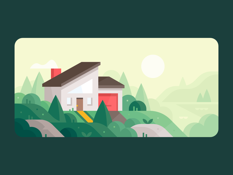 Credit Karma: Home Buying hills forest home mortgage sunset lake mountains karma credit house illustration landscape