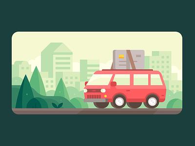 Credit Karma: Van Life moving travel car credit credit cards credit card van life van city town landscape illustration