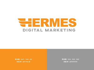Hermes Digital Marketing full logo adobe illustrator midgard creative type logo orange vector type h logo icon hermes