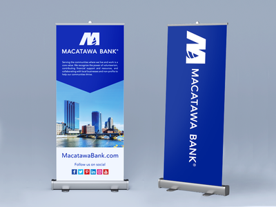 Event Banners large scale printing branding finance banking grand rapids blue banner pull-up banner