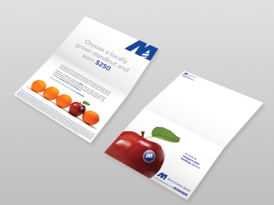 Choose a Locally grown stand out  finance self mailer branding banking mailer print