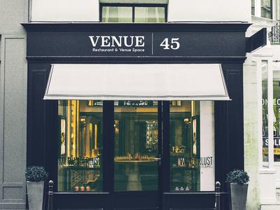 Venue 45 | Storefront Sign logo restaraunt branding storefront mock-up sign