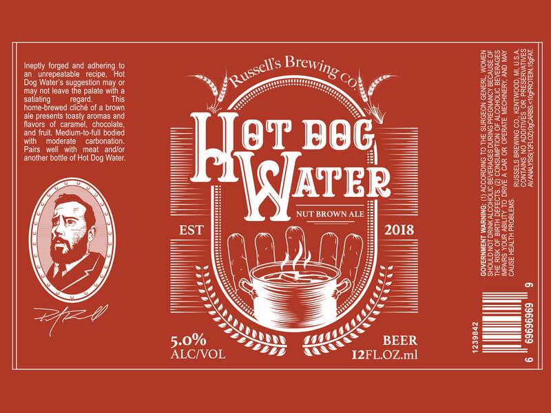 Hot Dog Water | Beer Label passion project drink label design label brewery package design beerlabel beer hotdog