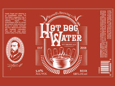 Hot Dog Water | Beer Label passion project drink label design label brewery package design beerlabel beer hotdog