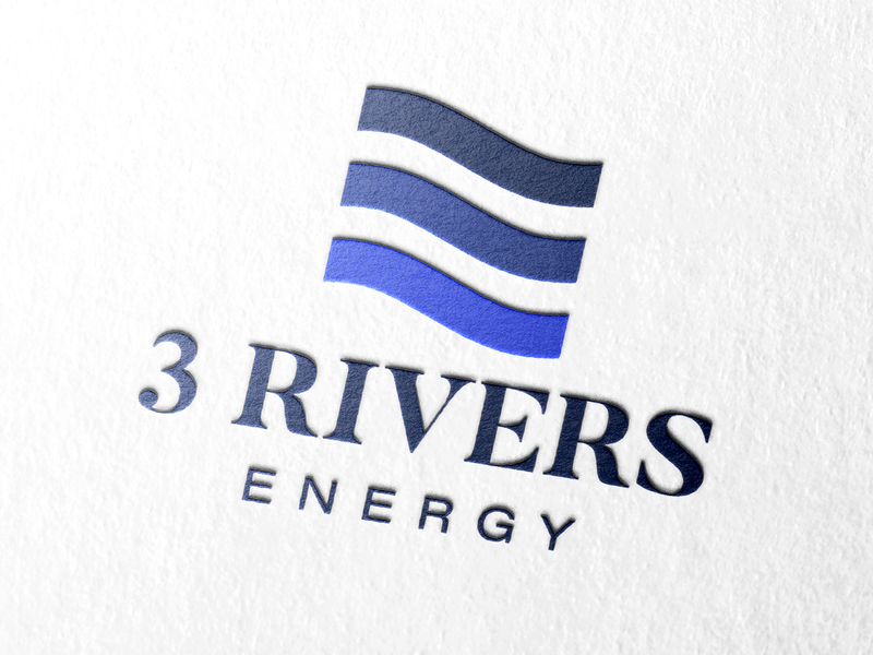 3 Rivers Energy Logo corporate design corporate branding asset management rivers blue logo blue water icon infrastructure adobe illustrator vector brand identity energy logo logo design