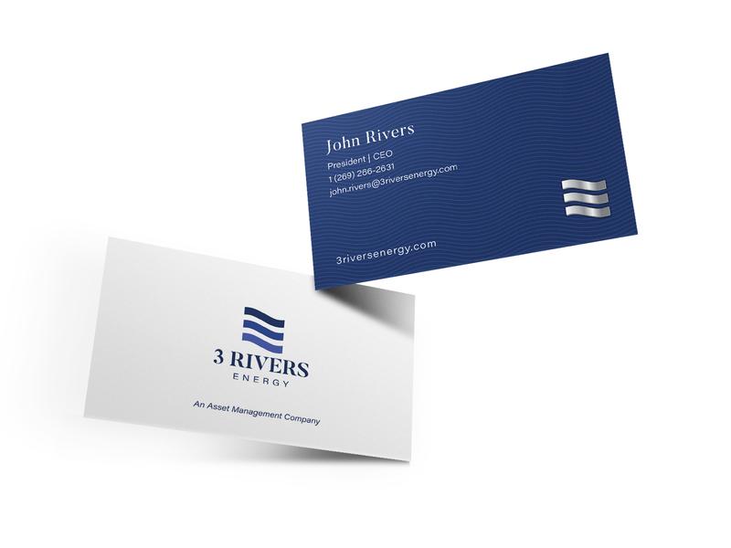 3 Rivers Energy Business Card Design water logo icon logo business card design water energy logo metallic print design branding blue adobe illustrator business card