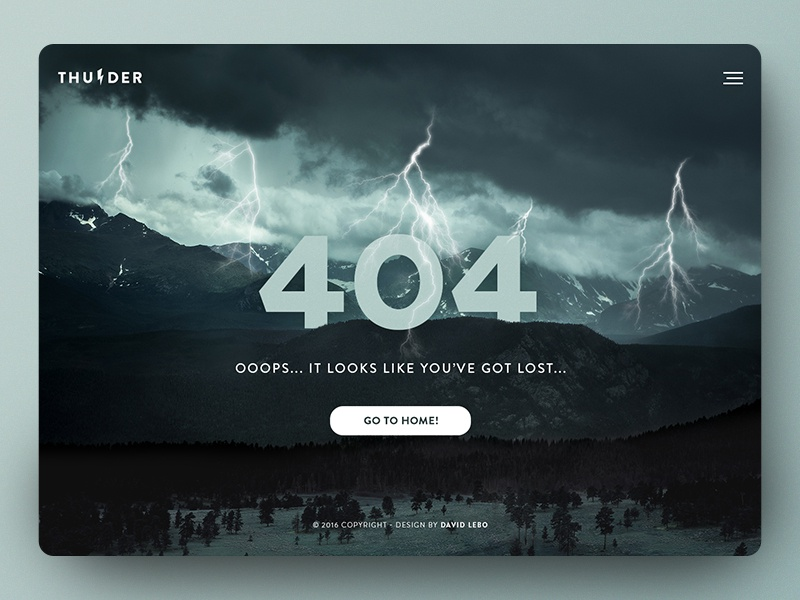 404 Page website web ux ui thunder error page error page 404 page 404