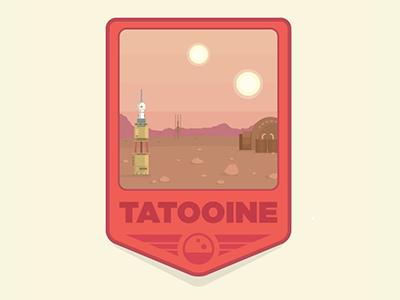 Tatooine desert sci fi pop culture movies simple badge patch planet tatooine star wars illustration