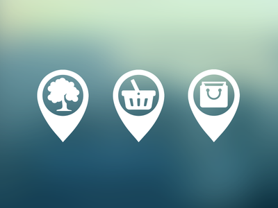 Location Icons icons locations park shop baskets tree bag position blur flat