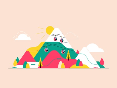 Mountain lines scenario vector art vector illustration mountain