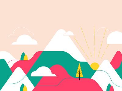 Climbing the mountain mountain scenario illustration art vector art vector illustration