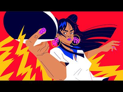 Ping Pong! anime movement sports ping pong girls girl vector illustration