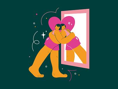 Love yourself illustration vector art vector mirror beauty empower selflove girl women love