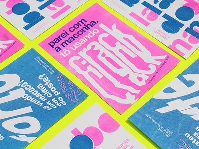 Modernismo Funkeiro typography type music mc carol blue pink fluor postcards riso funk