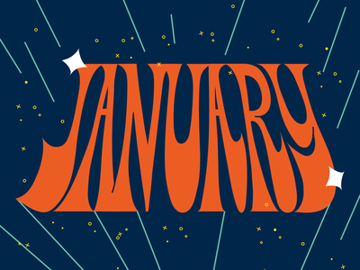 January 70s space letter month lettering art january lettering