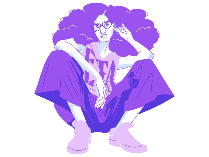 Purple palette color palette vector art illustration vector girl purple