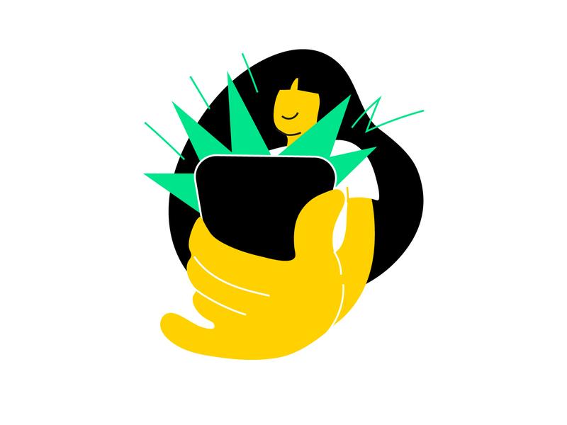 Descomplica Illustration Style Guide: Fun online study study girl vector art smartphone cellphone drawing fun vector