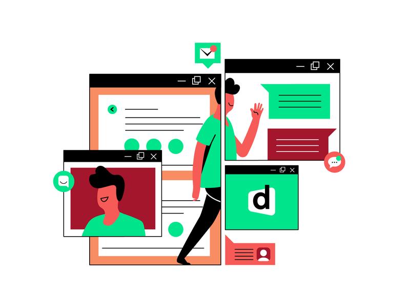Alumni Channel student illustration design interface descomplica