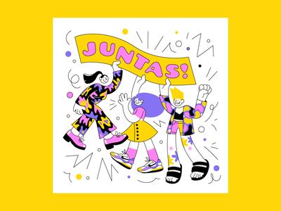 Juntas! letter lettering art vector art vector woman women girls feminism sorority together