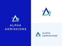 Alpha Admissions Logo school education mark vector icon identity logo branding