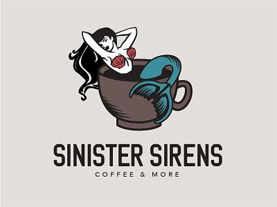 Burlesque Coffee Shop Logo coffee mug coffee shop siren mermaid branding logo coffee burlesque