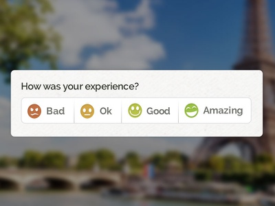 Sploria Experience Ratings rating system smiley experience website radio button form